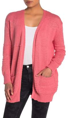 Woven Heart Textured Open Front Cardigan