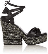 Sergio Rossi WOMEN'S BILBAO LEATHER ANKLE-TIE PLATFORM SANDALS