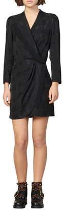 Sandro Walls Floral Jacquard Long Sleeve Dress