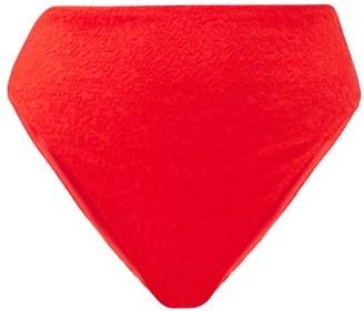 Mara Hoffman Imina High-rise Floral-cloque Bikini Briefs - Red