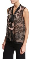 Nanette Lepore Sleeveless Embroidered Tie-Neck Chiffon Top, Black