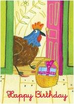 Eeboo Rooster At The Door Birthday Card - 6 ct