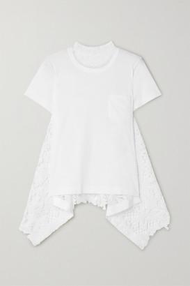 Sacai Asymmetric Cotton-jersey And Lace T-shirt - White