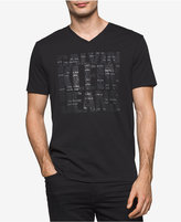 Calvin Klein Jeans Men's Tiny Logo V-Neck Graphic T-Shirt, Created for Macy's