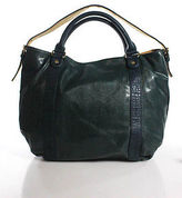 Deux Lux Green Leather Snakeskin Pattern Magnetic Popper Tote Handbag