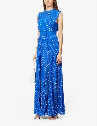 Self-Portrait Polka dot-print pleated crepe maxi dress