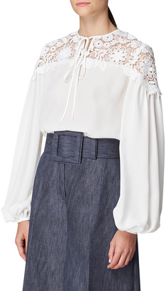 Carolina Herrera Balloon-Sleeve Lace-Insert Blouse