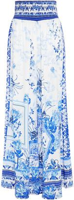 Camilla Shirred Printed Silk Crepe De Chine Wide-leg Pants