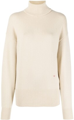 Victoria Beckham Embroidered Logo Turtle Neck Jumper