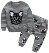 Kids Pants Set,FTXJ Girl Clothes Long Sleeve Cats Print Tracksuit Blouse+Pants