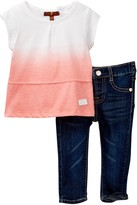 7 For All Mankind Flutter Top & Pant Set (Baby Girls)