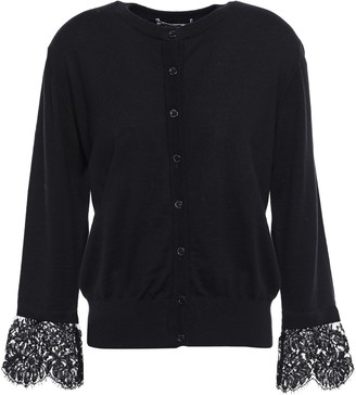 Moschino Lace-trimmed Linen And Cotton-blend Cardigan