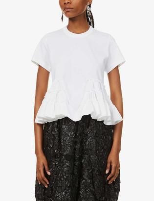 Noir Kei Ninomiya Gathered waist cotton-jersey T-shirt