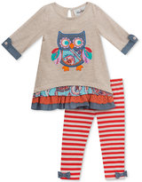 Rare Editions 2-Pc. Layered-Look Owl Top & Striped Leggings Set, Baby Girls (0-24 months)