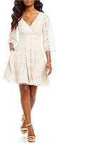 Eliza J Surplice Neckline Fit & Flare Lace Dress