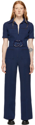 Gucci Navy Belted Short Sleeve Jumpsuit