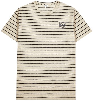 Loewe Ecru striped cotton T-shirt