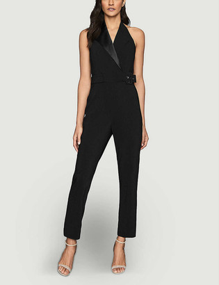Reiss Belinda tux-detail stretch-crepe jumpsuit
