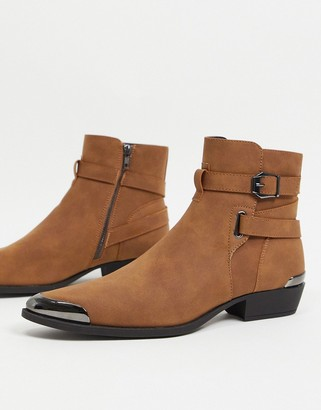 ASOS DESIGN cuban heel western chelsea boots in tan faux suede with buckle detail
