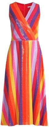 Olivia Rubin Thea Sequin Stripe Wrap Dress