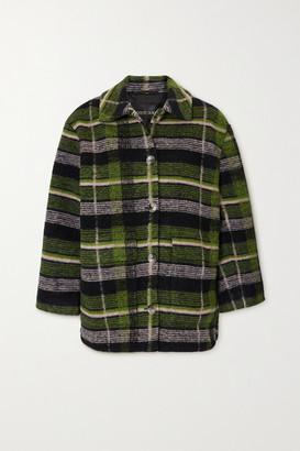 Stine Goya Lotte Oversized Checked Wool-blend Jacket - Navy
