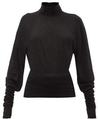 Lemaire Button-collared Stretch-jersey Roll Neck Sweater - Womens - Black