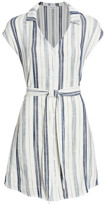 Bella Dahl Stripe Cap-Sleeve Tie-Waist Shirtdress