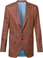 Isaia classic checked blazer - men - Silk/Linen/Flax/Wool - 52