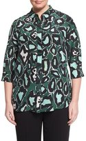 Marina Rinaldi Bavarese 3/4-Sleeve Printed Silk Blouse, Plus Size