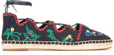 Tory Burch embroidered figures espadrilles - women - Cotton/Leather/rubber - 7.5