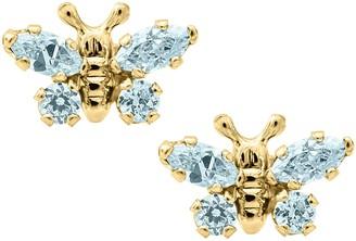 Mignonette Butterfly Birthstone Gold Earrings