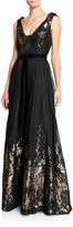 Marchesa V-Neck Sleeveless Metallic Fils Coupe Gown w/ Shoulder Detailing