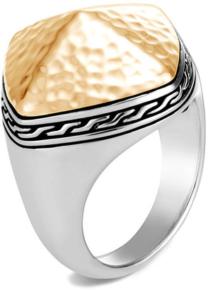 John Hardy Classic Chain Hammered Ring w/ 18k Gold, Size 6-8