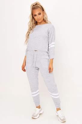 I SAW IT FIRST Grey Knitted Stripe Detail Loungewear Set