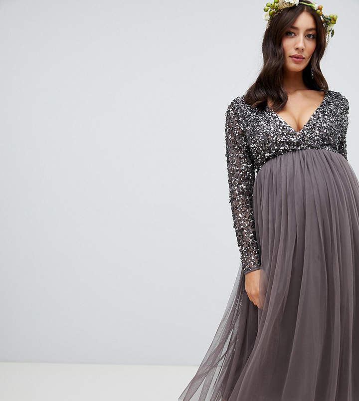 Maya Maternity long sleeve wrap front midi dress with delicate sequin and tulle skirt in charcoal