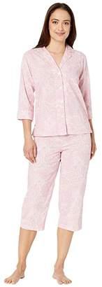 Lauren Ralph Lauren Petite Cotton Rayon Lawn Woven 3/4 Sleeve Pointed Notch Collar Capri Pajama Set (Multi Paisley) Women's Pajama Sets