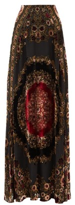 Etro Baluchi Floral-embroidered Velvet Maxi Skirt - Black Red