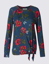Per Una Floral Print Tie Front Long Sleeve T-Shirt