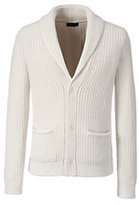 Lands' End Men's Wool Blend Textured Shawl Cardigan-Soft Ecru Marl
