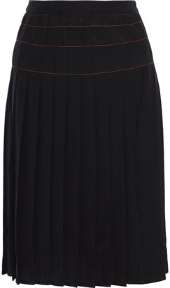 Versace Pleated Silk Crepe De Chine Skirt