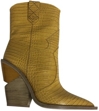 Fendi Cowboy Yellow Leather Ankle boots