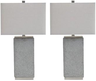 Signature Design by Ashley Amergin Table Lamps - Set of 2 - Faux Concrete - Urban Chic - Grain