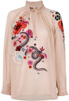 Roberto Cavalli embroidered floral top