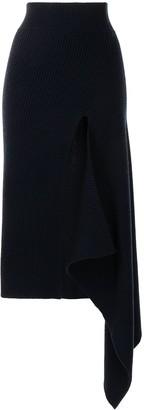 Monse Ribbed Sliced Asymmetric Skirt