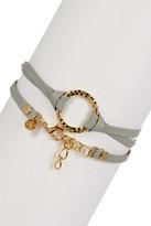 Leila Hammered Ring Leather Wrap Bracelet