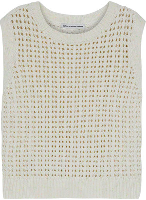 Cotton By Autumn Cashmere Cropped Donegal Open-knit Cotton-blend Top