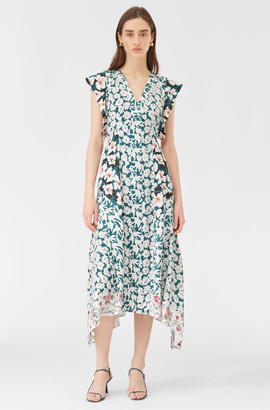 Rebecca Taylor Serene Fleur Print Mix V-Neck Dress