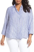 Foxcroft Plus Size Women's Stripe Linen Shirt
