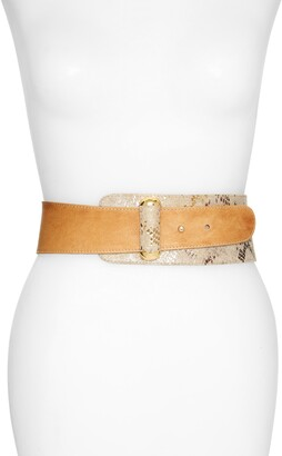 Raina Vixen Asymmetrical Snake Embossed Leather Belt