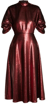 Emilia Wickstead Mariel Open-back Sequined Gown - Womens - Burgundy